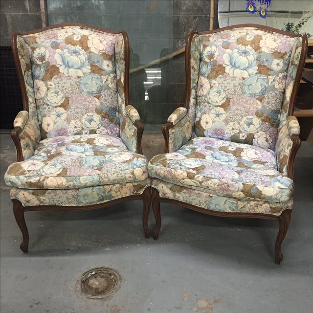 Large Peonies Upholstered Chairs - A Pair - Image 2 of 10