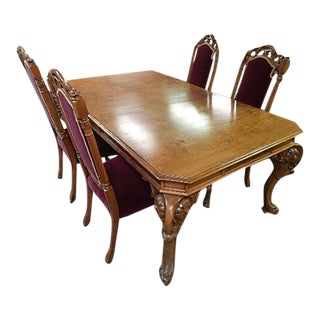 Ornate Antique Crotch Carved Walnut Dining Set