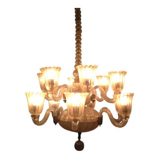 1940s 12-Light Venetian Hand-Blown Glass Chandelier