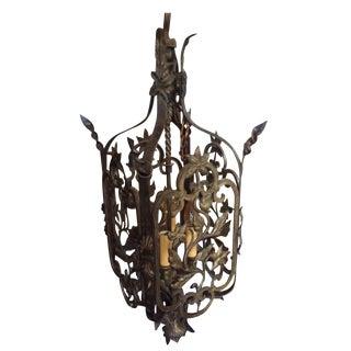Antique Iron Hand Worked Hanging Lantern