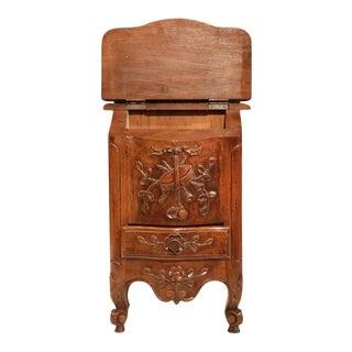 Early 20th Century French Carved Walnut Salt Box