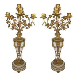 Turn of the Last Century Antique Doré Bronze and Marble Candelabra, Pair