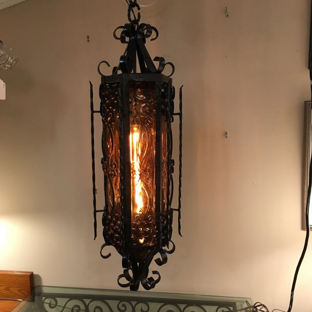 mexican mid century wrought iron hanging lamp chairish. Black Bedroom Furniture Sets. Home Design Ideas