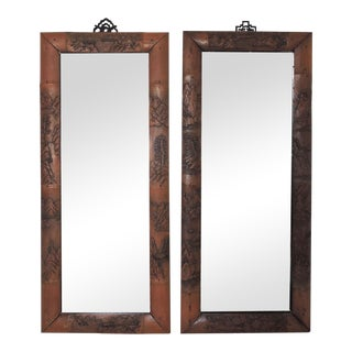 Antique Carved Bamboo Wall Mirrors - a Pair