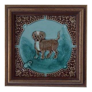 """1896 Antique Rockwood """"Puppy"""" Tile"""