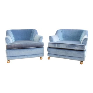 Vintage Mid Century Modern Velvet Club Chairs - A Pair