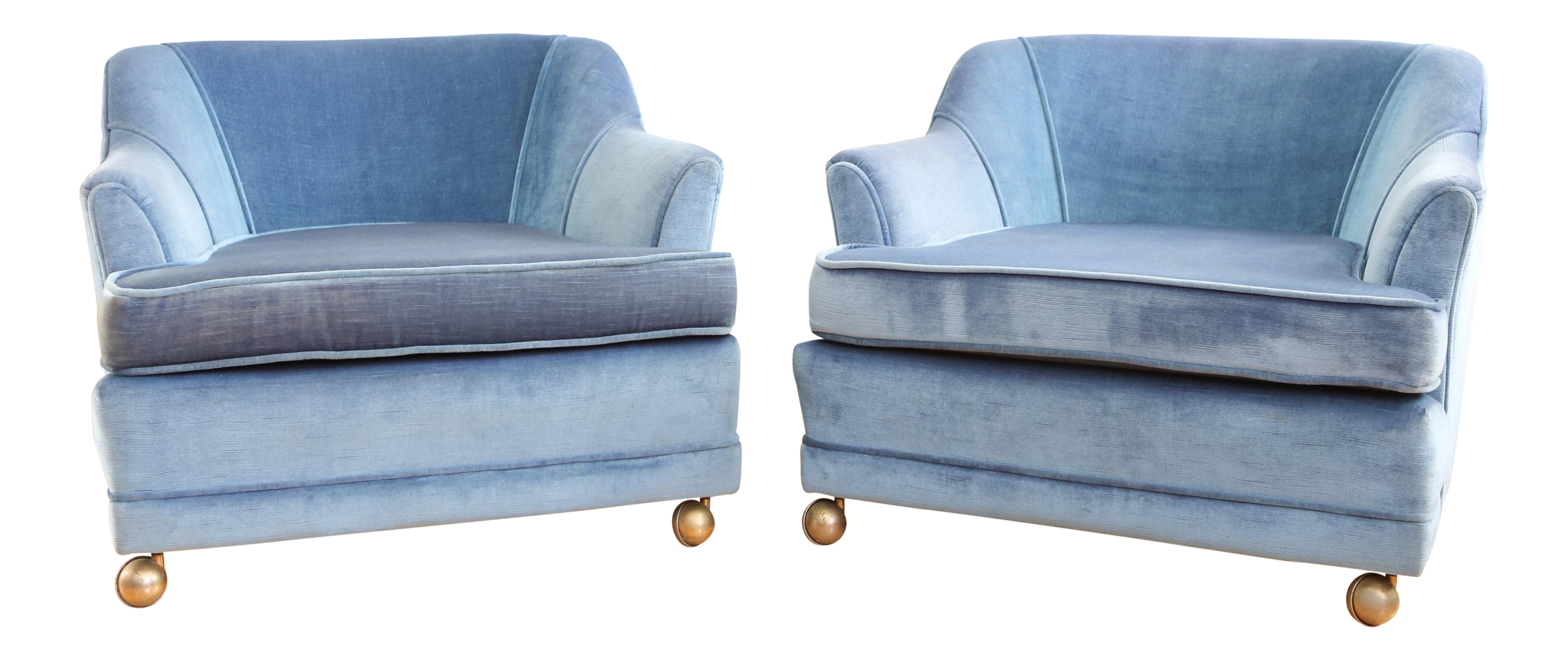 vintage mid century modern velvet club chairs a pair