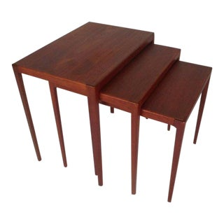 Vintage Modern Danish Teak Ludvig Pontoppidan Nesting Tables - Set of 3
