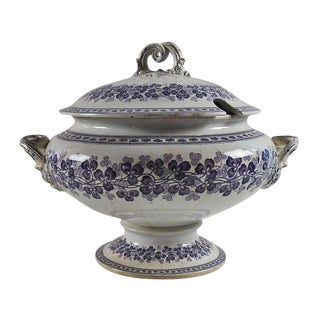 Lavender Shamrock Transferware Soup Tureen
