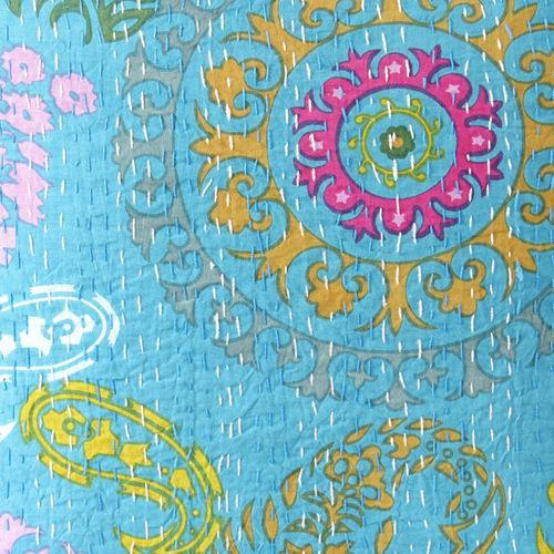 Turquoise Hand Block Kantha Throw Pillow - Image 2 of 2