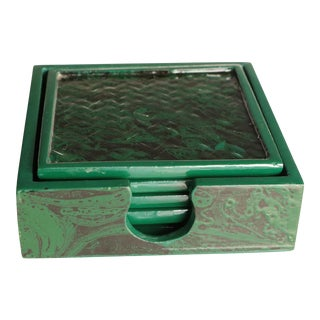 Faux Malachite Lacquered Coasters - Set of 4