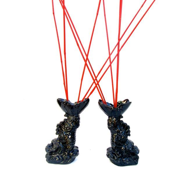 Asian Dragon Koi Figural Vases - A Pair - Image 9 of 10