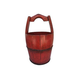 Vintage Chinese Red Lacquer Wood Bucket