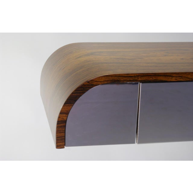 Rosewood & Chrome Pedestal Console - Image 5 of 11