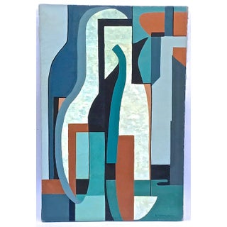 Mid-Century Modern Cubist Abstract Painting