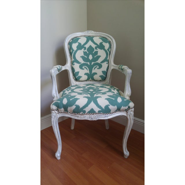Vintage Victorian Ikat Print Arm Chair - Image 2 of 5