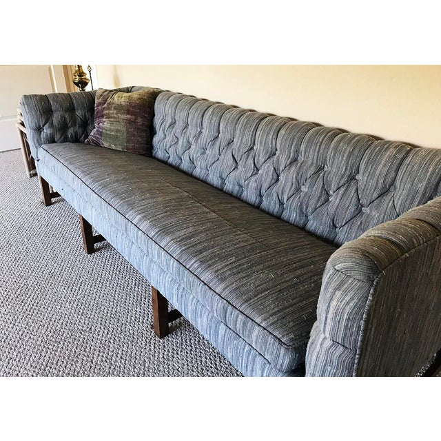 Vintage Gray Tufted Sofa & Pillow - Image 3 of 7