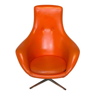Swedish European Mid-Century Modern Overman Orange Fishtail Pod Swivel Club Chair