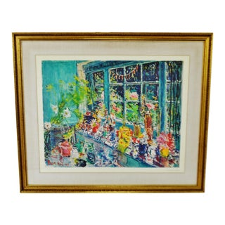 Dimitrie Berea The Large Window With Flowers Signed and Numbered Lithograph
