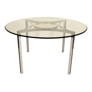 Vintage Mid-Century Modern Circular Chrome and Glass Dining Table