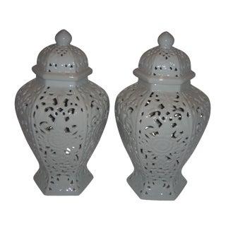 White Glazed Ceramic Ginger Jars - A Pair