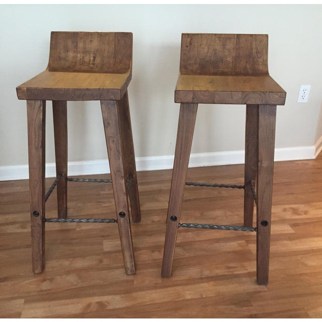Reclaimed Elm Wood Bar Stools -- A Pair - Image 2 of 7