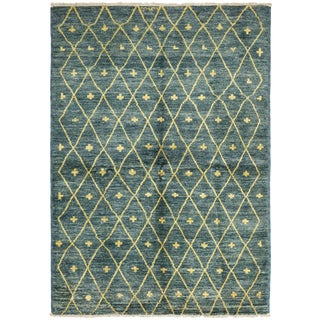 """New Blue Moroccan Hand-Knotted Rug - 6'3"""" x 8'9"""""""