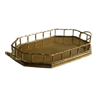 Faux Bamboo Octagonal Brass Serving Tray