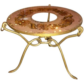 Art Deco Occasional Table in Gilt Wrought Iron by René Drouet, France circa 1948