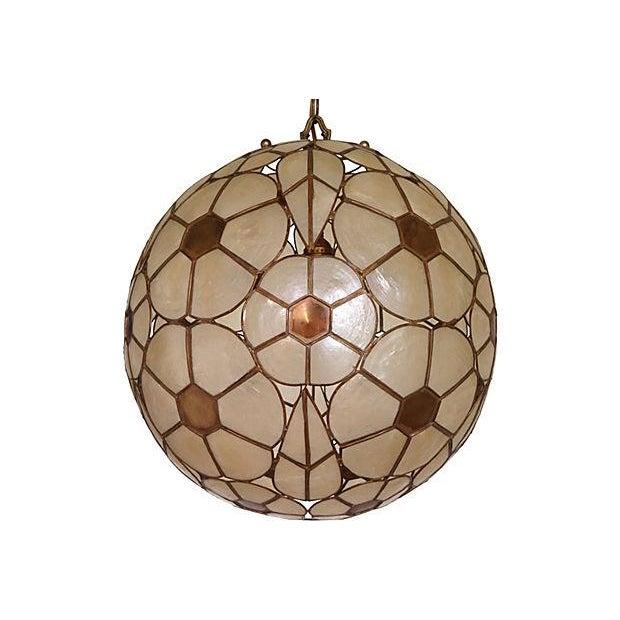 1950s capiz shell globe chandelier chairish. Black Bedroom Furniture Sets. Home Design Ideas