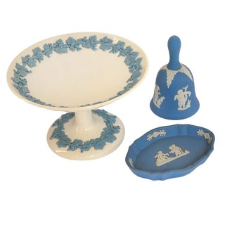 Wedgwood England Embossed Blue Vanity Set - 3