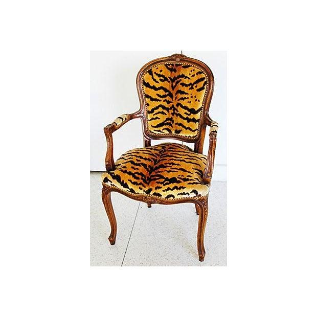 1940s Italian Scalamandre Le Tigre Velvet Armchair - Image 2 of 8