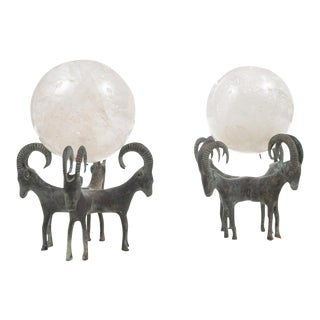 Rock Crystal Globes on Bronze Stands - A Pair