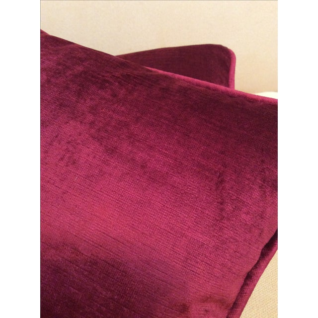 Burgundy Velvet Pillows - A Pair - Image 9 of 9