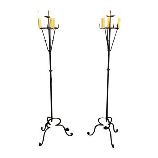 Spanish Gothic Wrought Iron Torchieries - A Pair