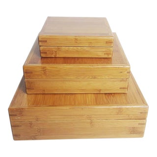 Handcrafted Nested Bamboo Boxes - Set of 3