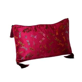Pink Dragonfly Silk Brocade 12x18 Pillow