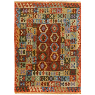 Arya Junior Gold/Brown Wool Kilim Rug - 5'0 X 6'7