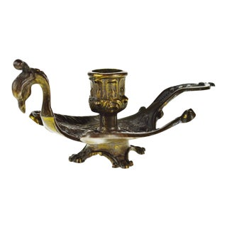 Vintage 1950's Venetian Brass Peacock Chamberstick Candle Holder