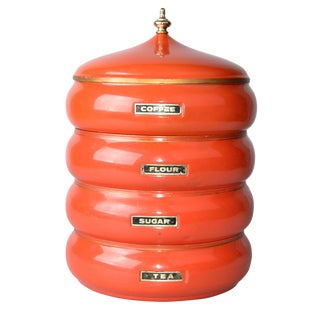 1950s Vintage Stackable Aluminum Storage Canisters