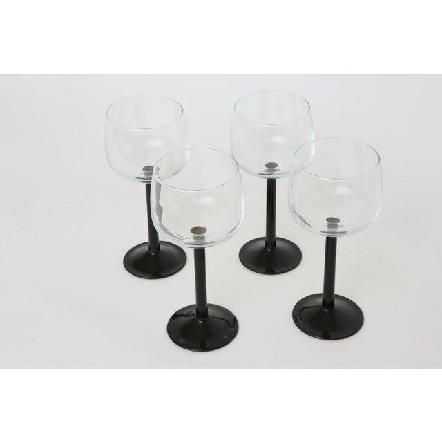 Vintage French Black Stem Glasses - Set of 4 - Image 6 of 7