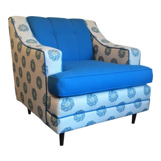 Mid-Century Blue & White Club Chair