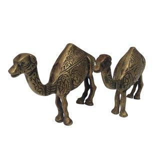 Vintage Pair Brass Camels