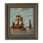 """Image of Auguste Musin """"Ships Waiting"""" Antique Oil Painting"""