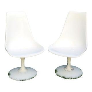Chromcraft Mid Century White Tulip Chairs - a Pair