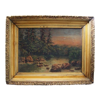 Antique Forest Stream Oil on Canvas