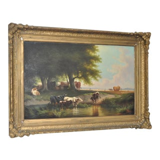 Large 19th Century Oil on Canvas Country Landscape w/ Cattle
