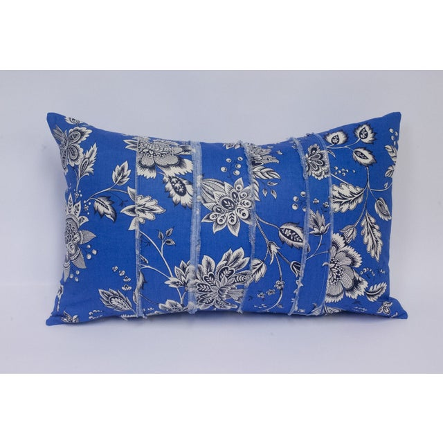Black & White Floral on Blue Accent Pillow - Image 2 of 5