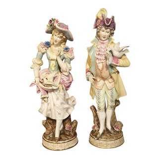 Pair of Early 1900s Hand Painted Bisque Figures