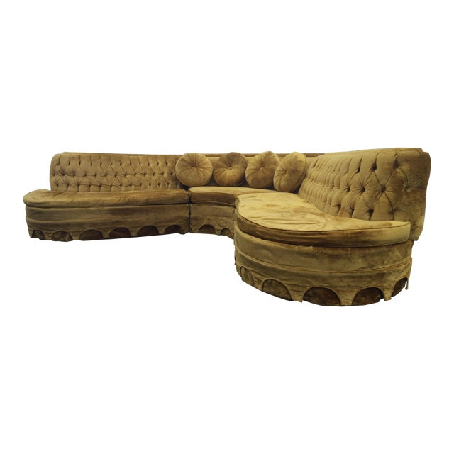 Serpentine tufted gold velvet sectional sofa chairish for Gold velvet sectional sofa
